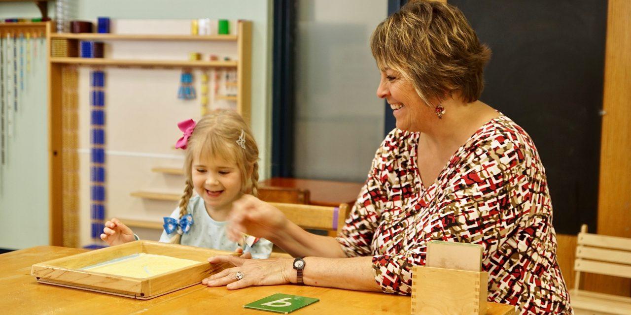 Teacher and Student at Montessori School of Waukesha