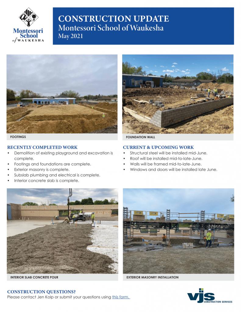 Montessori School of Waukesha May 2021 Construction Update