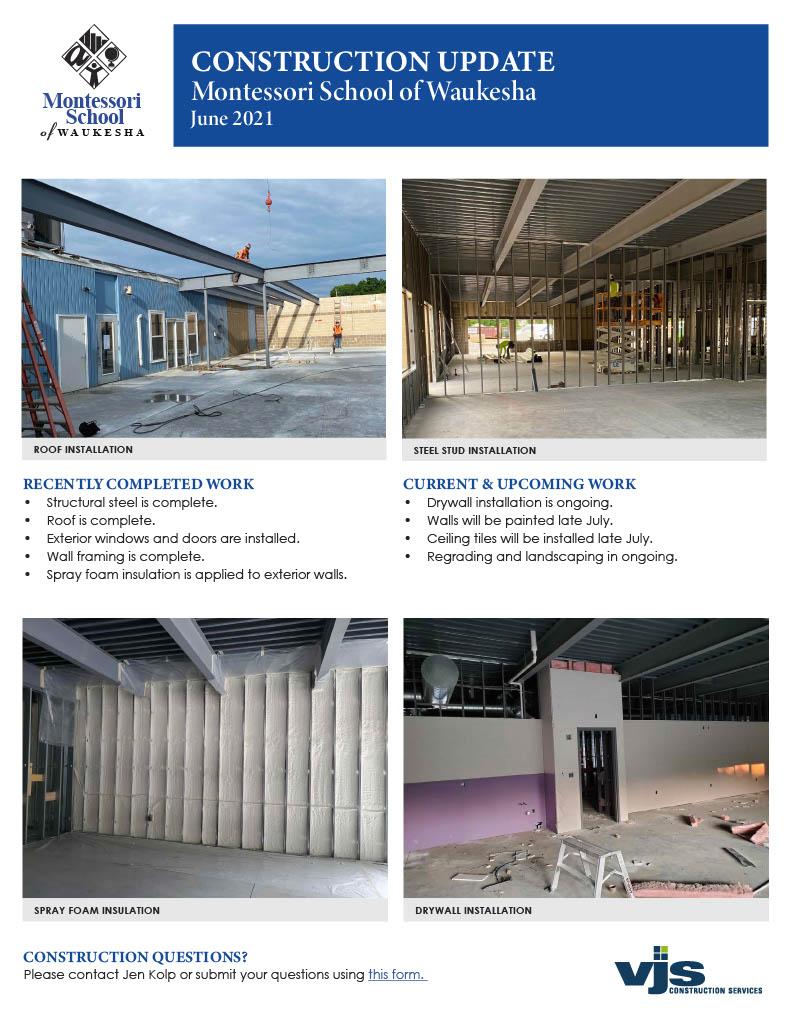 Montessori School Construction Update June 2021